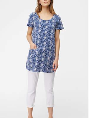 White Stuff Embroidered Daisy Jersey Tunic, Purple