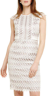 Phase Eight Ally Lace Layered Dress, Praline/Cream