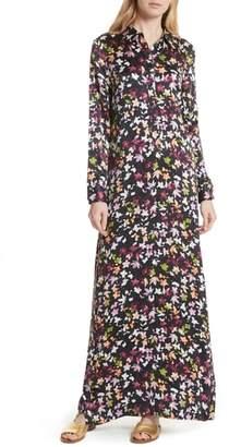 Equipment Simone Floral Silk Button Sleeve Maxi Dress