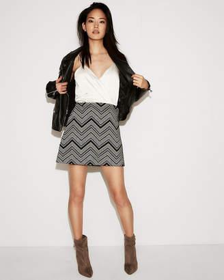 Express High Waisted Chevron Mini Skirt