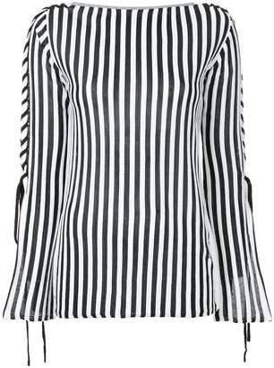 G.V.G.V. lace sleeve striped top