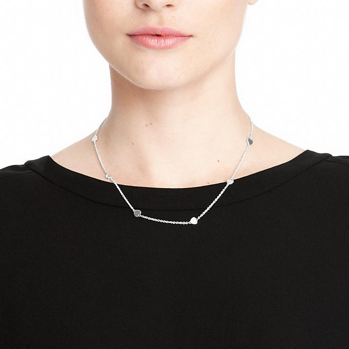Coach Sterling Heart Station Necklace