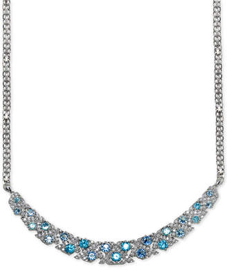 """Giani Bernini Blue Cubic Zirconia Fancy Curved Bar Collar Necklace in Sterling Silver, 18"""" + 2"""" extender"""