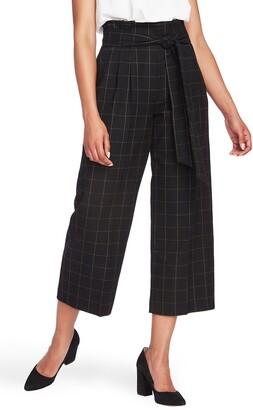 1 STATE 1.STATE Starstruck Tie Waist Windowpane Paperbag Trousers