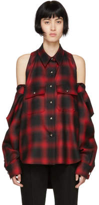 Alexander Wang Red and Black Check Button-Off Shirt