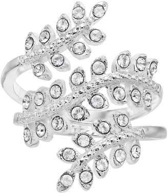 Brilliance+ Brilliance Silver Tone Wrap Leaf Ring with Swarovski Crystal