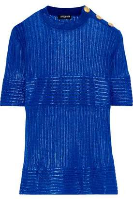 Balmain Button-detailed Coated Pointelle-knit Top