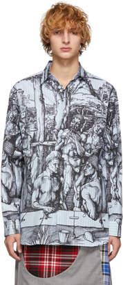 J.W.Anderson Blue and Black Striped Durer Scene Shirt