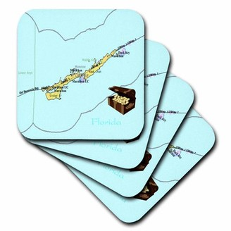 3drose 3dRose Print of Florida Keys Map With Treasure Chest - Soft Coasters, set of 4