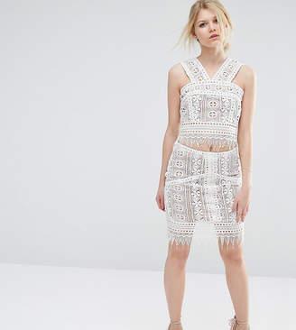 True Decadence Petite Co-Ord Premium Lace Overlay Mini Skirt