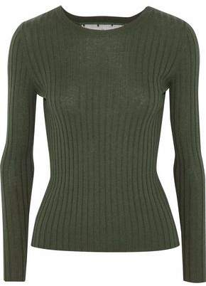 RED Valentino Point D'esprit-Paneled Ribbed Cashmere And Silk-Blend Sweater