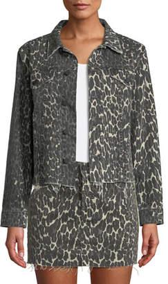 Mother The Cut Drifter Leopard-Print Denim Jacket