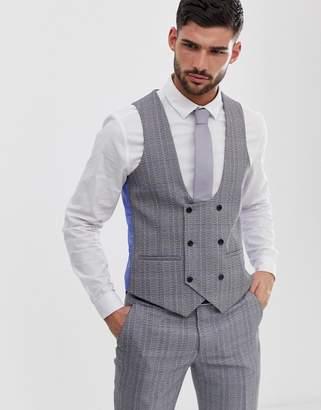 6a3e28fa Original Penguin slim fit grey textured over check suit waistcoat