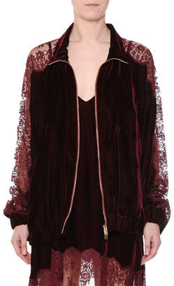 Stella McCartney Zip-Front Velvet Bomber Jacket with Lace Inset