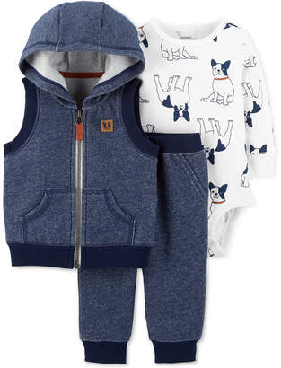 Carter's 3-Pc. Hooded Vest, Dog-Print Bodysuit & Pants Set