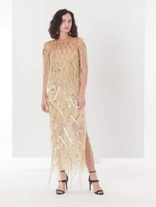 Oscar de la Renta Sequin Fishnet Embroidered Tulle Two-Piece Gown