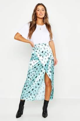 d3b567b1c7 boohoo Petite Satin Leopard Print Wrap Midi Skirt