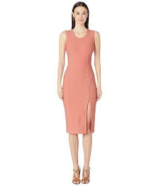 Yigal Azrouel Sleeveless Mechinical Stretch Dress with Lacing Detail