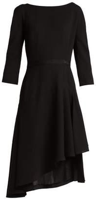 Lanvin Asymmetric Pleated Wool Midi Dress - Womens - Black