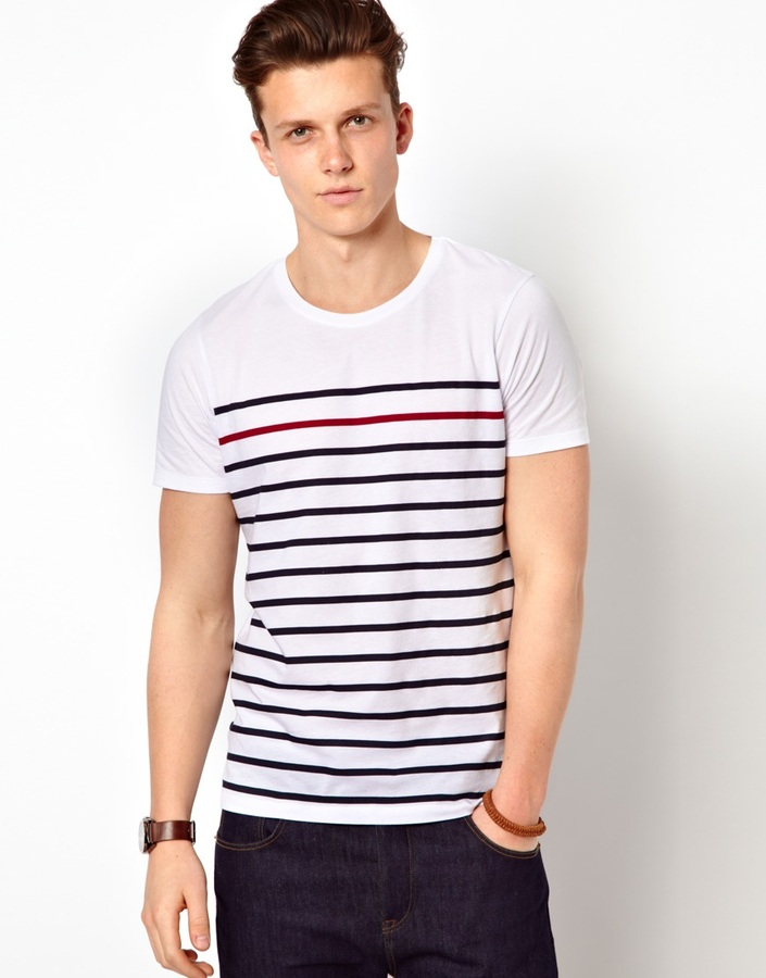 Asos Stripe T-Shirt With Highlight Stripe