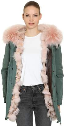 Mr & Mrs Italy Cotton Canvas Parka W/ Fur