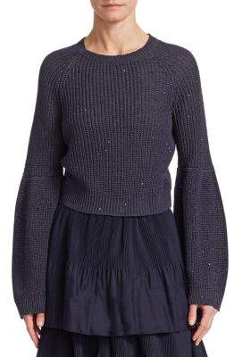Brunello Cucinelli Cropped Bell Sleeve Sweater