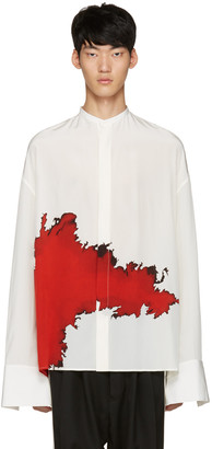 Haider Ackermann Ivory Collarless Graphic Shirt $1,800 thestylecure.com