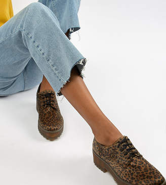 Monki leopard print pony hair lace up brogues in brown