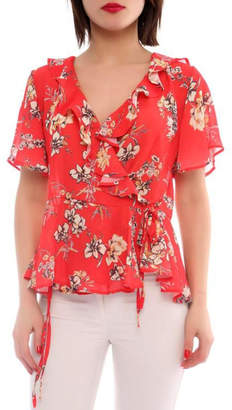Marvy Fashion Floral Surplice Top