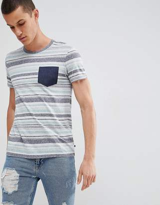 Esprit T-Shirt With Multi Stripe and Contrast Pocket