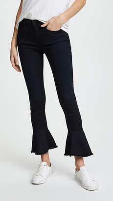 Frame Le Skinny De Jeanne Flounce Jeans with Raw Edge