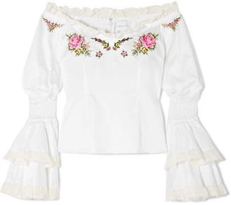 Alice McCall Bon Voyage Off-the-shoulder Embroidered Cotton Blouse - White