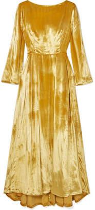 ADAM by Adam Lippes Metallic Silk-velvet Maxi Dress - Yellow