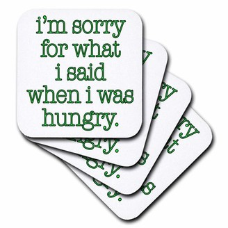 3dRose Im sorry for what I said when I was hungry, Lime Green, Ceramic Tile Coasters, set of 4