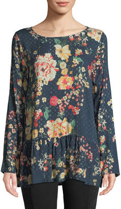 Johnny Was Ludios Ruffled Floral-Print Tunic