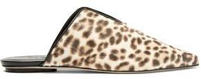 Tibi Cacey Leopard-Print Calf Hair Slippers
