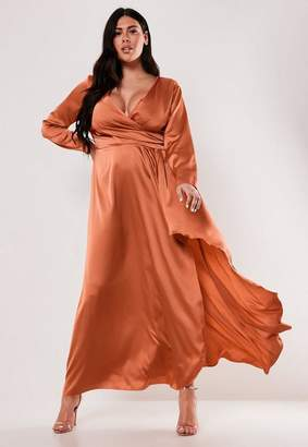 Missguided Plus Size Rust Satin Wrap Maxi Dress