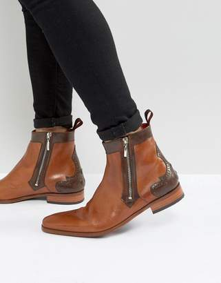 Jeffery West Scarface Brogue Zip Boots In Tan Leather