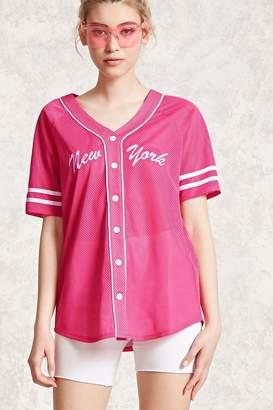Forever 21 Embroidered Mesh Baseball Shirt