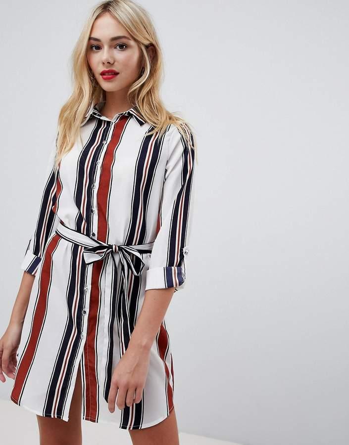 Parisian stripe shirt dress