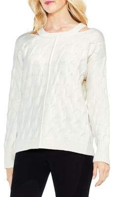 Vince Camuto Cable-Knit Cutout Neck Sweater