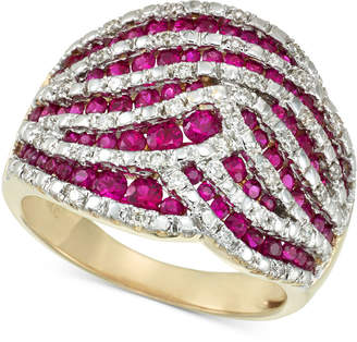 Rare Featuring Gemfields Certified Ruby (1-1/4 ct. t.w.) and Diamond (1/4 ct. t.w.) Statement Ring in 14k Gold