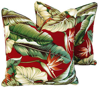 One Kings Lane Vintage Bird of Paradise Barkcloth Pillows - Set of 2
