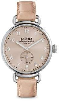 Shinola Runwell Pink Alligator Strap Watch