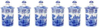 Spode Blue Italian Spice Jars - Set of 6