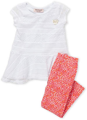 Juicy Couture Toddler Girls) Two-Piece Mesh Peplum Top & Leggings Set