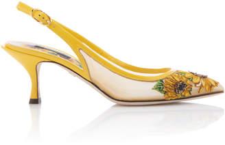 Dolce & Gabbana Embroidered Mesh Slingback Pumps