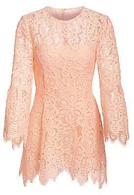 Lela Rose Women's Bell Sleeve Corded Lace Blouse