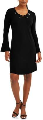 DONNA SORENTO Women's Lace Up Dress with Flare Sleeve