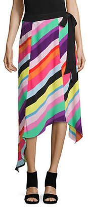 Topshop Rainbow Striped Midi Skirt